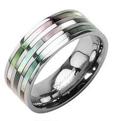 Triple Rainbow Abalone Inlay - Titanium Steel Ring - Gay & Lesbian Pride Wedding or Engagement Ring Band (8). One Single Solid Titanium Triple Abalone Ring. Three Abalone inlays come in a rainbow of colors and can appear to change color when viewed from different angles. Couple rings are a great way to showcase your love for one another and join you together. Titanium ring available in sizes 5 - 13. Sizes 5 - 9 are 7mm thick and sizes 10 - 13 are 9mm thick. Best Seller in Gay and Lesbian...