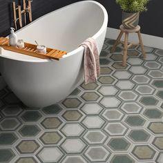 Grey Bathroom Floor, Shower Floor, Bathroom Flooring, Tile For Small Bathroom, Basement Bathroom, Mosaic Tiles, Wall Tiles, Backsplash Tile, Herringbone Tile Floors