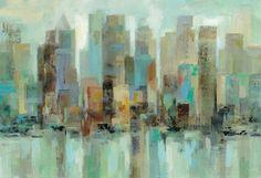 "Epic Graffiti ""Morning Reflections"" by Silvia Vassileva, Giclee Canvas Wall Art Canvas Art Prints, Painting Prints, Canvas Wall Art, Big Canvas, Reflection Art, Boat Art, City Painting, Contemporary Paintings, Framed Wall Art"