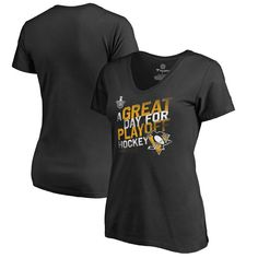 Pittsburgh Penguins Fanatics Branded Women's 2017 Stanley Cup Playoffs Participant Crease Slogan V-Neck T-Shirt - Black