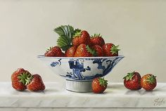 Johan de Fre. Strawberries in a Chinese Dish
