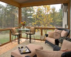 Patio Screened In Porch Design, Pictures, Remodel, Decor and Ideas - Way to get both lounge chairs and small table