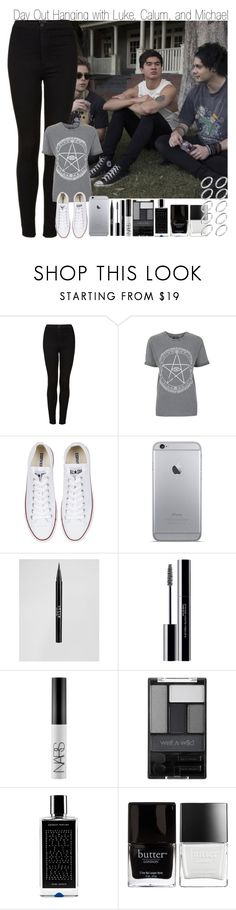 """Day Out Hanging with Luke, Calum, and Michael"" by elise-22 ❤ liked on Polyvore featuring Topshop, Converse, Stila, shu uemura, NARS Cosmetics, Wet n Wild, Agonist, Butter London and ASOS"