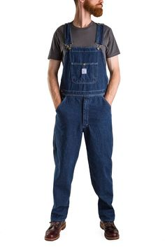 Indigo Denim High Back Overalls - Tailored Cut - Washed