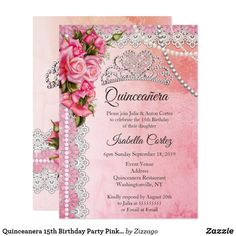 Quinceanera 15th Birthday Party Pink Roses Tiara Invitation Invitations Bachelorette