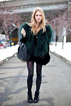 Sapphire furry jacket and Alexander Wang bag