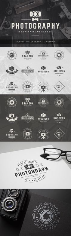 20 Photography Logos and Badges Templates PSD #design Download: