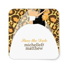 Bride and Groom Leopard Print Wedding Sticker