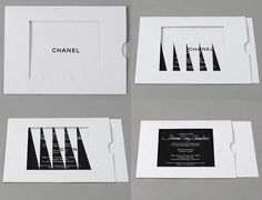 Fashion Week Invite A/W 2012- Chanel's signature monochrome invitation features a panelled overlay, which slowly and tantalisingly reveals it's contents as the card slides open.