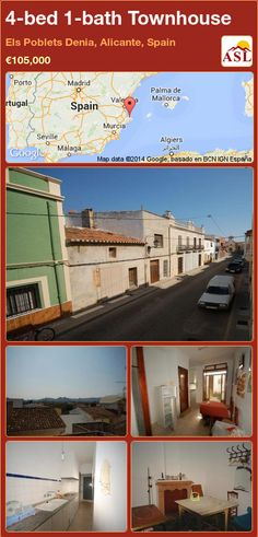 Townhouse for Sale in Els Poblets Denia, Alicante, Spain with 4 bedrooms, 1 bathroom - A Spanish Life Murcia, Alicante Spain, Open Plan Kitchen, Seville, Ground Floor, Townhouse, Property For Sale, Terrace, Madrid