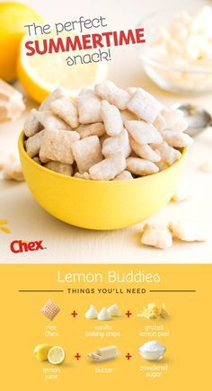 A summer favorite of ours - Lemon Buddies! An easy 15 minute recipe made with just six ingredients; rice chex, white baking chips, fresh grated lemon peel, lemon juice, butter and powdered sugar. Perfect for bridal or baby showers – but really no excuse i Dessert Party, Dessert Dips, Dessert Parfait, Dessert Recipes, Coctails Recipes, Dishes Recipes, Recipies, Cooking Recipes, Lemon Recipes