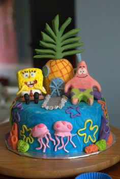 Spongebob cake for kids birthday party. Patrick is on there too!