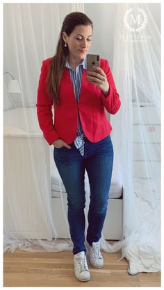 • Blazer: HM • Blue/White Striped Shirt: HM • Jeans: HM • Trainers: Adidas Trainers Adidas, Blue And White Striped Shirt, Putting Outfits Together, Red Blazer, Colorful Cakes, Cute Shoes, My Wardrobe, Photo And Video, My Style