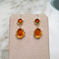 Shimmering One of a Kind Orange Red Tourmaline Gold Dangle Earrings | From a unique collection of vintage dangle earrings at https://www.1stdibs.com/jewelry/earrings/dangle-earrings/