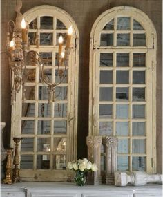 Vintage windows into mirrors  thebellacottage.com