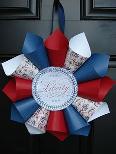 Fun With 4th of July Crafts, DIY #wreath  I would make a different center, but I love the whole look