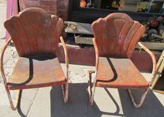 Retro Metal Shell Back Lawn Chairs. Vintage ...