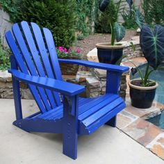Cozy blue adirondack chair by loll designs with outdoor potted plants Adirondack Furniture, Outdoor Furniture, Wood Furniture, Furniture Ideas, Modern Furniture, Adorondack Chairs, Outdoor Chairs, Outdoor Swings, Banks
