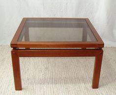 vintage mid century danish teak coffee table w/ smoked glass top