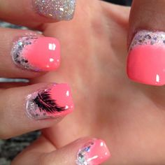 Feathers & Ombre Nails