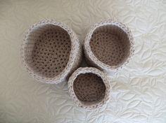 set of 3 crochet baskets by Sdcrochetcreations on Etsy