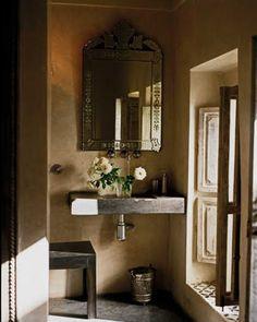 Fancy bathroom - A riad in Marrakech, Morocco – Fancy bathroom Beautiful Mirrors, Beautiful Bathrooms, Moroccan Bathroom, Tadelakt, Moroccan Interiors, Contemporary Interior Design, Moroccan Style, Bathroom Renovations, Decoration