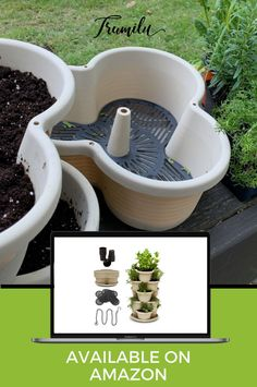 Planter for herbs, strawberries, small vegetables like peppers, succulents, flowers. The container is lightweight so it can be moved, can stack from 2 - 5 planters, hangable when using 3 planters. It is versatile and more stylish than others on the market. The planter has a filter and drainage holes are elevated so it has the potential for a reservoir. You can also drill more holes easily for more drainage. It comes with a tray so water mess. Extra starting pots included! #trumilu #herbs… Vertical Planter, Herb Planters, Hanging Planters, Planter Pots, Herbs Garden, Garden Pots, Container Gardening, Indoor Gardening, Egg Packaging