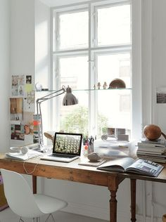 Home office design ideas - Workplace at home should have maximum comfort level. Design and decoration is an important factor that affects the comfort of your home office. Home Office Space, Home Office Design, Office Decor, House Design, Desk Space, Office Ideas, Office Spaces, Small Office, Bright Office