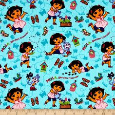 Nickelodeon Dora the Explorer Hola Garden Friends Multi from @fabricdotcom  Licensed to Springs Creative Products, this cotton print fabric is perfect for quilting, apparel and home décor accents. Colors include shades of green, dark turquoise, purple, red and brown. This cotton print is licensed and not for commercial use.