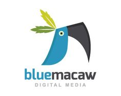 Blue Macaw is a logo in the shape of a blue macaw composed of abstract forms and two tree leaves over the head with the colors green, blue and black.(Media, macaw, blue, bird, animal, digital media, leaf, app, Leafs, digital, pet shop).