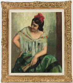 Huile Fine Du Xxe Siècle Encadrée Doré - Portrait Demi-Longueur D'Une Femme Espa