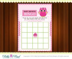 Pink or Purple, violet Baby Owl Bingo Game Printable Card for Baby Girl Shower DIY  - ONLY digital file - you print on Etsy, $5.50