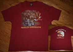 Harley Davidson Motorcycles Friends in Freedom Eagle Buffalo T-Shirt-2XL-Indiana