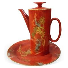 Check out this item at One Kings Lane! Orange & Gold Asian Teapot w/ Plate