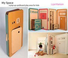 Casas de cartón pegables, para niños