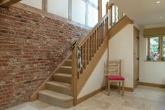 This kind of oak staircase is certainly an impressive design approach. Staircase Outdoor, Winding Staircase, Big Design, House Design, Self Build Houses, Traditional Staircase, House Stairs, Oak Stairs, House Entrance