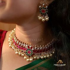 Stunning Necklace Set by Meenakshi Jewellers ~ South India Jewels – ruby jewelry Handmade Wedding Jewellery, Indian Wedding Jewelry, Bridal Jewelry, Gold Jewelry, Ruby Jewelry, Jewelery, Indian Jewelry Earrings, India Jewelry, Stone Jewelry