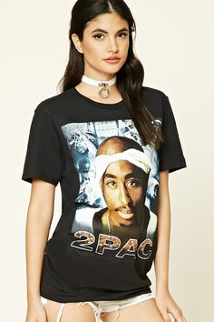 """A knit tee featuring a """"2Pac"""" graphic on the front, a crew neck, and short sleeves."""