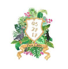 Hand Painted Custom Crest - Monogram, palms, heraldry, tropical, jungle, banana leaf, watercolor, illustration, film, glamour, art deco