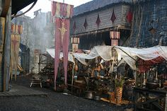 Medieval Village for 'Knights of Bloodsteel' Film Vila Medieval, Medieval Market, Medieval Life, Medieval Fantasy, Story Inspiration, Fantasy Inspiration, Yennefer Of Vengerberg, Chronicles Of Narnia, Dark Ages
