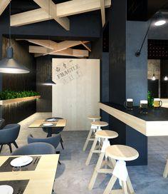 projet 3D design d'interieur restaurant le bristol - vue F