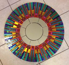 Colorful Fiesta Stained Glass Round Mosaic Mirror from spoiledrockin on Etsy. Stained Glass Mirror, Mirror Mosaic, Mosaic Art, Mosaic Glass, Mosaic Tiles, Glass Art, Glass Mirrors, Sea Glass, Mosaic Crafts