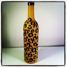 Leopard Print painted wine bottle