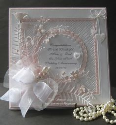 pamscrafts: Pearl Wedding Anniversary. -- change the color accents and get a different look and feel
