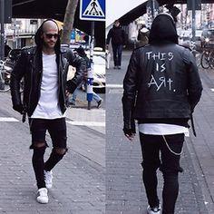 Kosta Williams - Selfmade Biker Jacket, H&M White Tee, Asos Skinny Jeans ( Self Customized ), Adidas Superstar 2 - This is art .