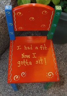 This whimsical chair just may make getting a time out a little easier. Chair will add an adorable accent to any room. Chair is hand painted and Hand Painted Furniture, Kids Furniture, Diy Childrens Furniture, Hand Painted Chairs, Decoupage Furniture, Furniture Refinishing, Furniture Chairs, Funky Furniture, Repurposed Furniture