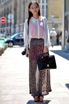 Sheer separates add visually-appealing layers to this ensemble.   - ELLE.com