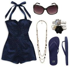 I LOVE navy.  Love the retro swimsuit for a little modesty.
