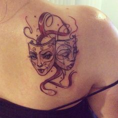 Drama mask tattoo. Sara K, Laughing Buddha in Seattle