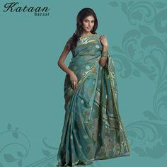 Aqua Green Cotton Saree With Resham Work